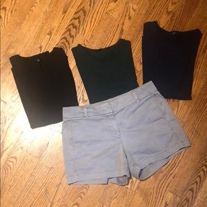 JCrew shorts - 3 t shirts